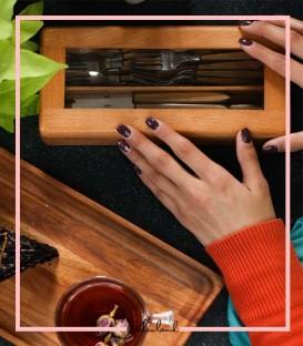 جعبه کارد و چنگال چوبی