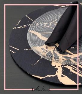 ست زیر بشقابی دستمال حلقه گل مشکی