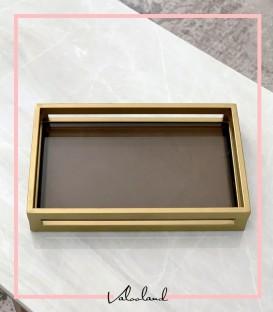 سینی شیشه ای طلایی