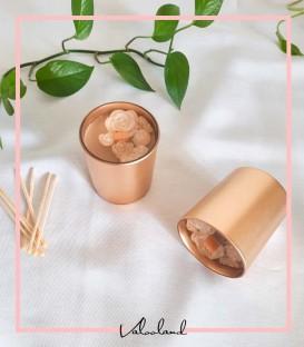 شمع لیوانی طلایی گلدار