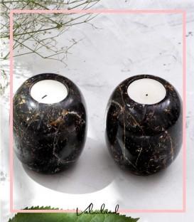 جا شمعی گرد سنگ مشکی مرمریت