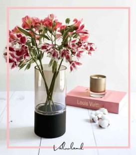 گلدان دکوری استوانه ای دودی