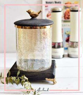 بانکه مشکی شیشه ای و چوبی