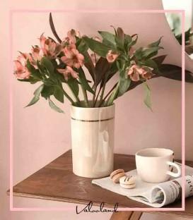گلدان استوانه ای دور طلایی