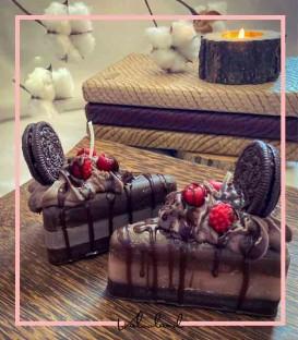 شمع فانتزی کیک اسلایسی شکلاتی