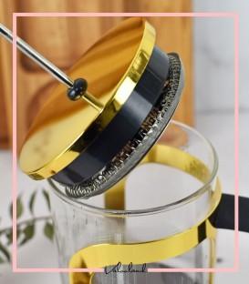 فرنچ پرس فلزی زرد متالیک