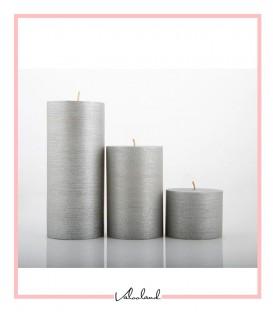 ست شمع 3 تایی imperial استوانه ای نقره ای