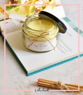شمع شیشه ای زرد با رایحه گل یخ