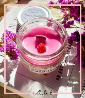 شمع عطری گرد شیشه ای با فیتیله چوبی