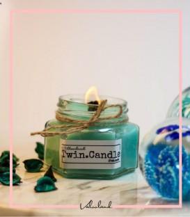 شمع شیشه ای بدون رایحه با فیتیله چوبی