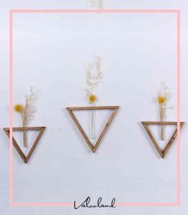 ست گلدان آویز دیواری مثلثی همراه با گل