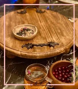سینی چوبی پذیرایی گرد پایه دار