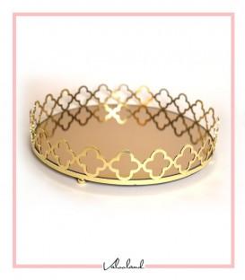 سینی گرد دسته طلایی طرح گل آینه برنزی متوسط