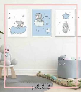 ست تابلوی دیواری کودک فیل آبی