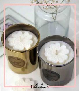 شمع لیوانی طلایی و نقره ای آرتمیس
