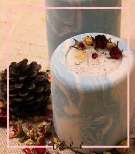 شمع بتنی آبی لبه گرد گلدار