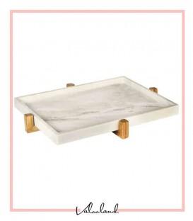 سینی سنگی پذیرایی سفید با پایه چوبی