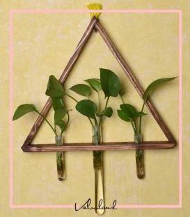 گلدان آویز طرح مثلثی چوبی