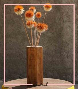 گلدان چوبی رومیزی دکوری همراه با گل