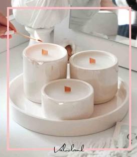 ست شمع سرامیکی به همراه سینی