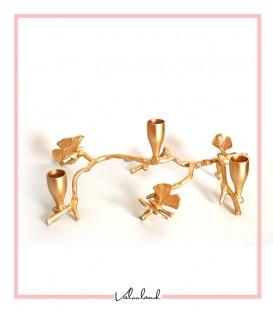 شمعدان فلزی رومیزی ۳تایی طلایی طرح برگ