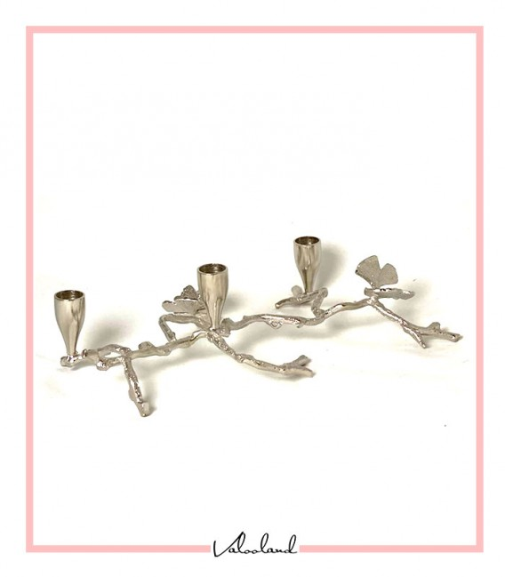 شمعدان فلزی رومیزی 3 تایی نقره ای طرح برگ